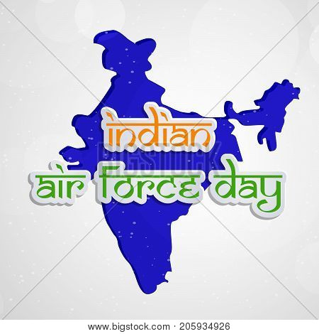 illustration of Indian Air Force Day text on India map background on the occasion of Indian Air Force Day