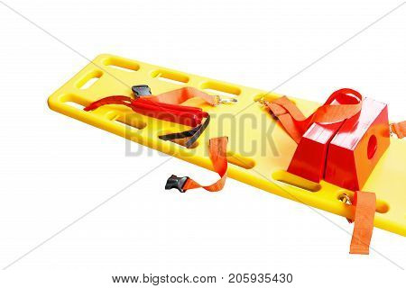 stretcher for emergency paramedic service EMS medical equipment and clipping path isolated on a white background