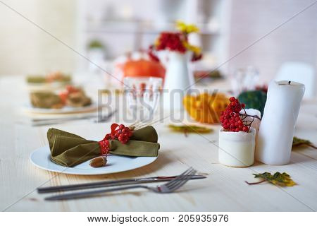 Thanksgiving composition with plate, napkin, candles and ashberries