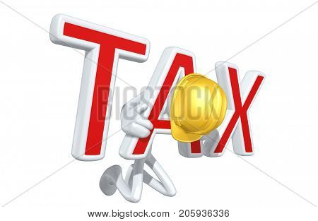 The Original 3D Construction Worker Character Illustration Trapped In A Tax Yoke