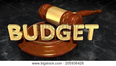 Budget Legal Gavel Concept 3D Illustration