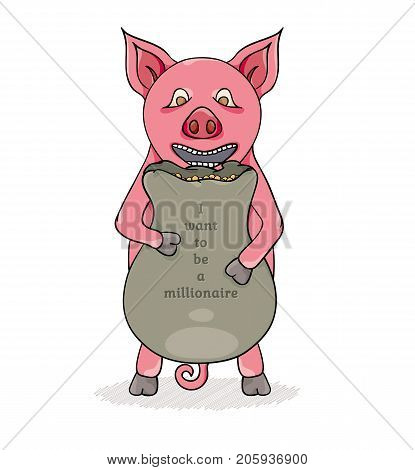 Pink pig and bag with gold coins. Cartoon illustration.