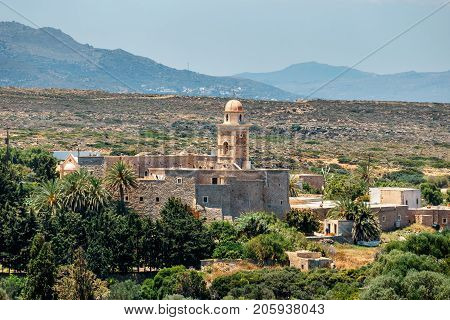Church Of Toplou Monastery. It Is A Eastern Orthodox Monastery In The Northeastern Part Of Crete