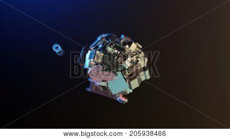 ball of metal parts, 3d illustration