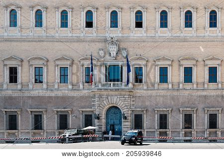 Rome, Italy - August 22, 2016: Farnese Palace in centre of Rome. Palazzo Farnese is one of the most important High Renaissance palaces in Rome, currently serves as the French embassy in Italy.