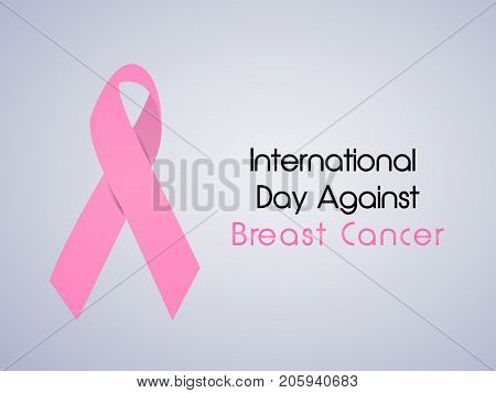 illustration of ribbon with International Day Against Breast Cancer text on the occasion of International Day of Breast Cancer