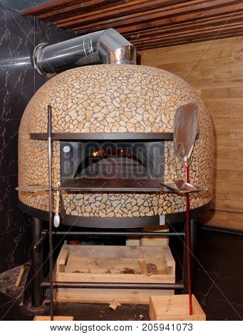 Traditional wood-fired italian pizza oven