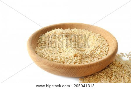 Bowl of long grain brown rice on white background