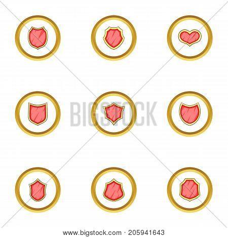 Shield logotype icons set. cartoon style set of 9 shield logotype vector icons for web design