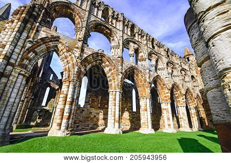 View of the ruins of Whitby Abbey situated on the East Cliff of Whitby, North Yorkshire, United Kingdom.