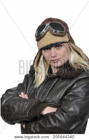 Woman pilot wearing vintage pilot helmet flight jacket and goggles