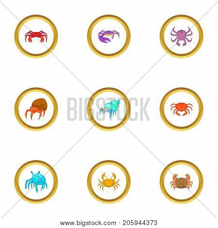 Crustacean icons set. cartoon style set of 9 crustacean vector icons for web design