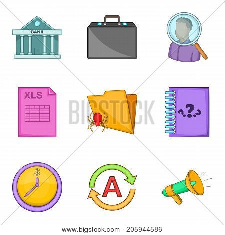 Insolvent icons set. Cartoon set of 9 insolvent vector icons for web isolated on white background