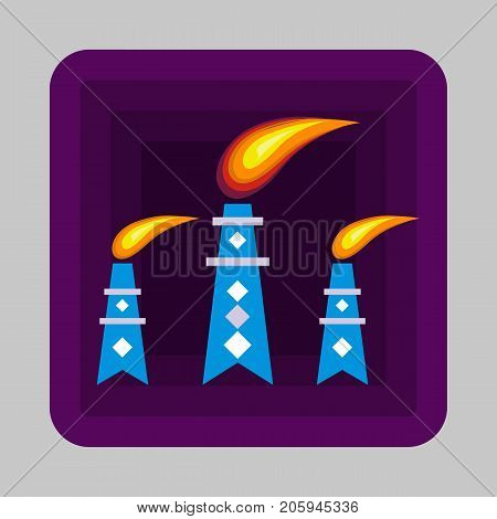 Petrol flame tower concept background. Cartoon illustration of petrol flame tower vector concept background for web design