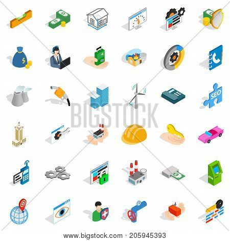 Concern icons set. Isometric style of 36 concern vector icons for web isolated on white background