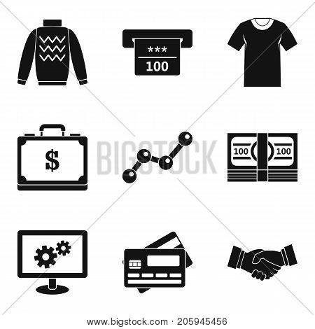 Cash donation icons set. Simple set of 9 cash donation vector icons for web isolated on white background