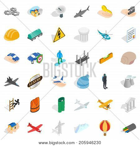 Satellite icons set. Isometric style of 36 satellite vector icons for web isolated on white background