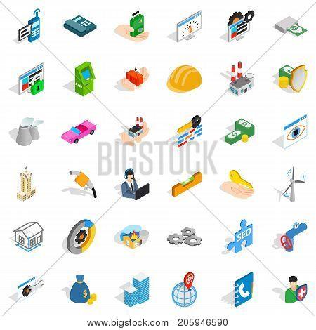 Biz icons set. Isometric style of 36 biz vector icons for web isolated on white background
