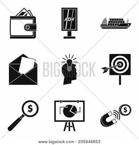 Handout icons set. Simple set of 9 handout vector icons for web isolated on white background