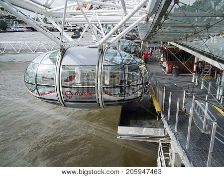 London, UK: July 25, 2016: A pod of the London Eye the giant Ferris wheel on the South Bank of the River Thames in London. As of January 2015, it has been advertised as the Coca-Cola London Eye.