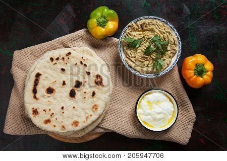 Pita bread, wheat flour flatbread popular in turkish and lebanese cuisines