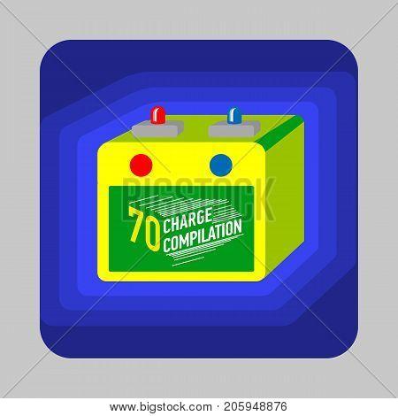 Car battery concept background. Cartoon illustration of car battery vector concept background for web design