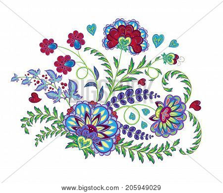 Embroidery stitches with fantasy flowers in bright colors. Vector fashion ornament on white background for fabric traditional eastern floral decoration. Vector