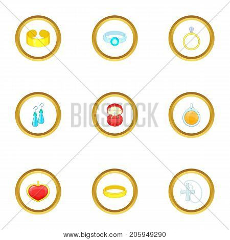 Women jewelry icons set. Cartoon style set of 9 women jewelry vector icons for web design