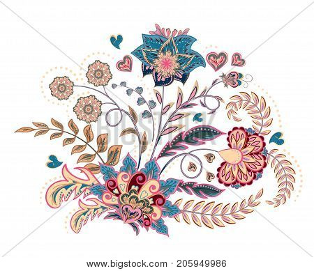 Embroidery stitches with fantasy flowers in pastel color. Vector fashion ornament on white background for fabric traditional eastern floral decoration. Vector