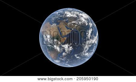 Eurasia and Africa the Arabian Peninsula in the center behind the clouds on the globe isolated Earth 3D rendering the elements of this image are furbished by NASA