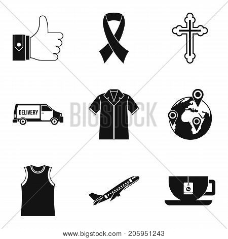 Charity service icons set. Simple set of 9 charity service vector icons for web isolated on white background