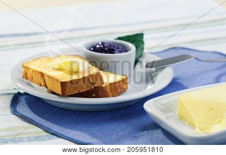 useful healthy breakfast with toast, butter and jam