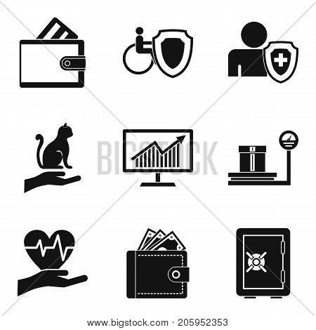 Money stash icons set. Simple set of 9 money stash vector icons for web isolated on white background