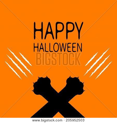 Happy Halloween. Bloody claws animal scratch scrape track. Black cat scratching paw crossed leg foot corner. Cute cartoon character silhouette. Baby pet collection Flat design Orange background Vector