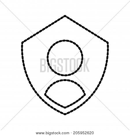 privacy icon shield with person symbol protection authentication security vector illustration