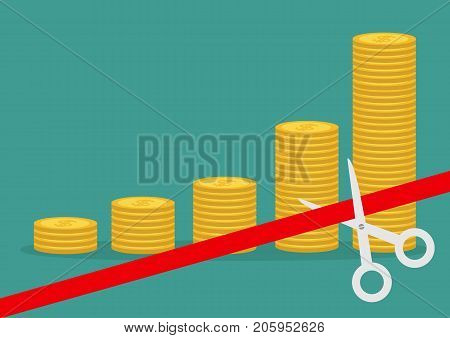 Scissors cut red ribbon. Business beginnings. Gold coin stacks icon diagram. Dollar sign symbol. Cash money. Going up graph. Income and profits. Growing concept Green background Flat design Vector