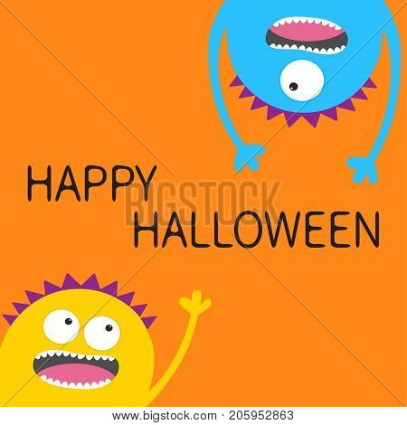 Two screaming monster head silhouette set. Hanging upside down. Eyes teeth tongue hands. Funny Cute cartoon character. Baby collection. Happy Halloween card. Flat design. Orange background. Vector