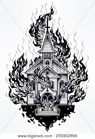 Burning Church flash tattoo dotwork art. Religious chapel fire arson concept. Metaphor for unholy rage, denial of God, religion, gothic art. Vector illustration isolated. Spiritual, occult symbol.