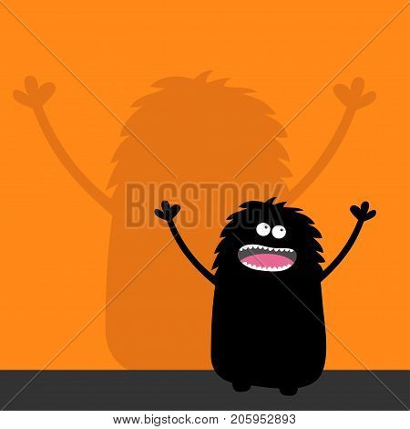 Screaming monster silhouette looking up. Wall shadow shade. Two eyes teeth tongue spooky hands. Black Funny Cute cartoon baby character. Happy Halloween. Flat design. Orange background. Vector
