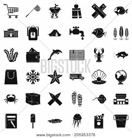 Outdoor icons set. Simple style of 36 outdoor vector icons for web isolated on white background