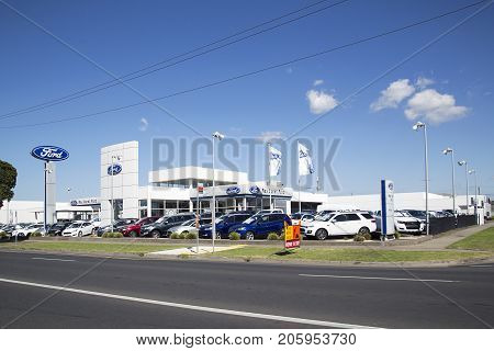 Geelong, Australia: April 03, 2017: Rex Gorell Ford Geelong is Australia's largest volume Ford dealership.