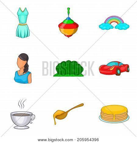 Nanny icons set. Cartoon set of 9 nanny vector icons for web isolated on white background