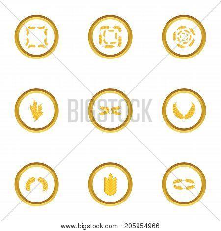 Grain icons set. Cartoon style set of 9 grain vector icons for web design