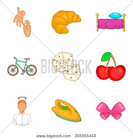 Babysitter woman icons set. Cartoon set of 9 babysitter woman vector icons for web isolated on white background
