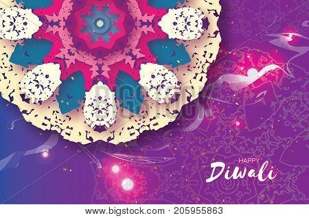 Happy Diwali. Indian celebration in paper cut style. Origami Beautiful Hindu festival of lights. Colorful Mandala. Vector illustration