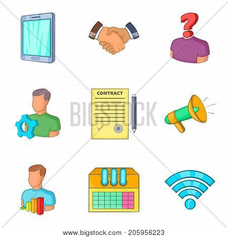 Financial assistance icons set. Cartoon set of 9 financial assistance vector icons for web isolated on white background
