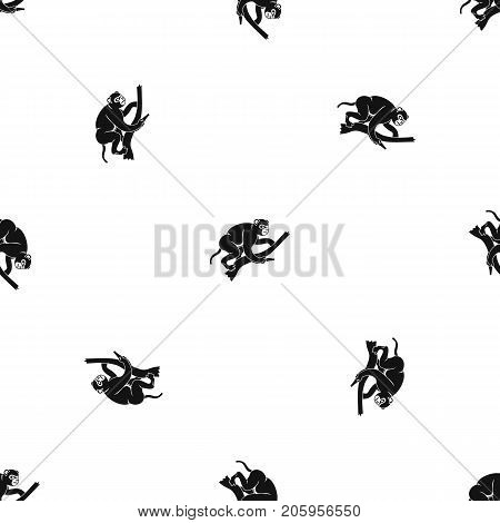 Monkey is climbing up on a tree pattern repeat seamless in black color for any design. Vector geometric illustration