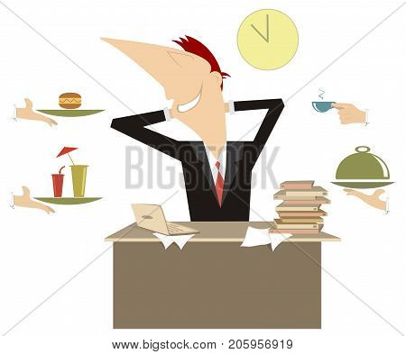 Business lunch illustration. Many hands offer food and drinks to the resting young man