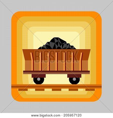 Wagon coal energy concept background. Cartoon illustration of wagon coal energy vector concept background for web design