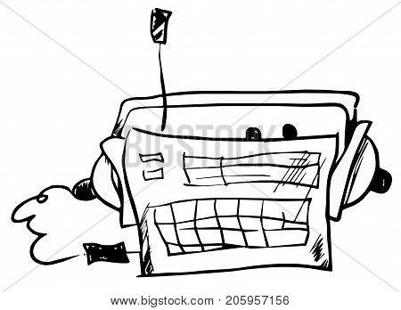 Radio hand drawn illustration isolated. Vintage radio and headphones illustration